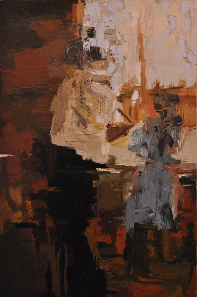 Dishes. Two figures at a window, painted with palette knives. 24x36 inches, oil on canvas. 2010